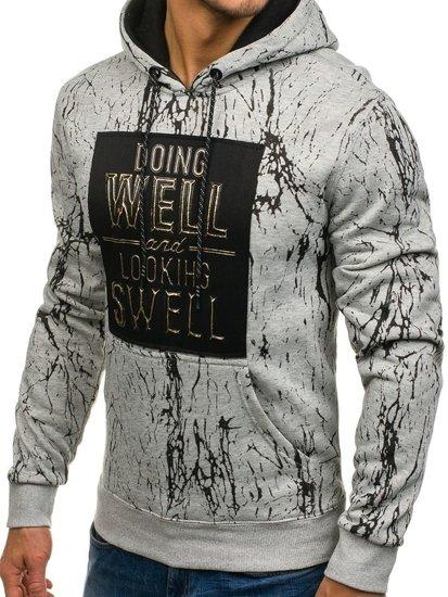 Bluza męska z kapturem z nadrukiem szara Denley DD160