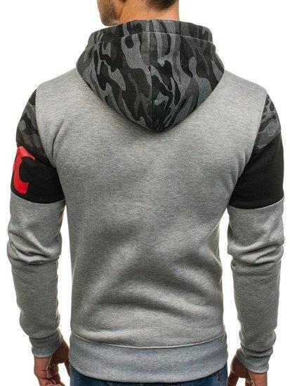 Bluza męska z kapturem z nadrukiem szara Denley DD56