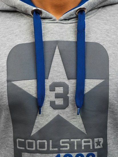 Bluza męska z kapturem z nadrukiem szaro-kobaltowa Denley Y-29