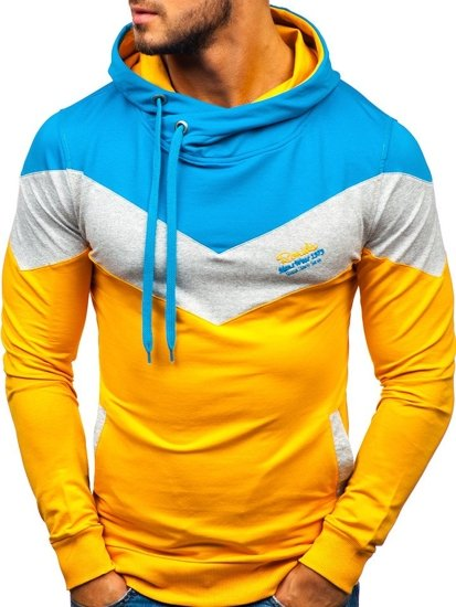 Bluza męska z kapturem z nadrukiem żółta Denley 4555-A