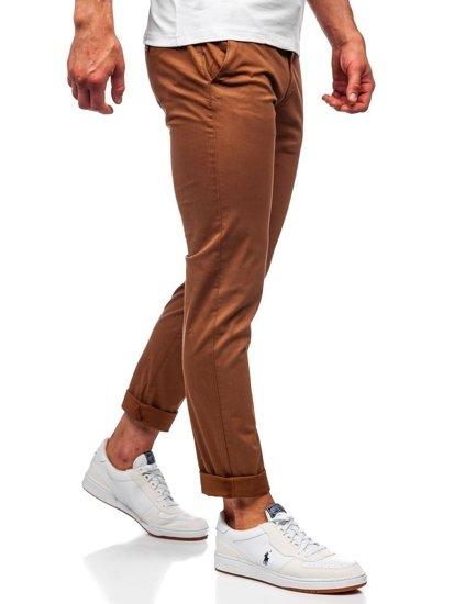 Brązowe spodnie chinosy męskie Denley 1146
