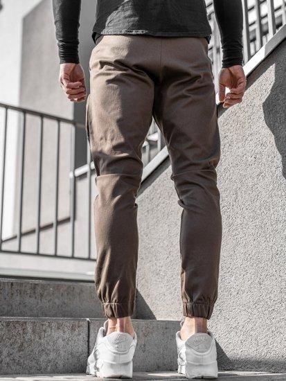Brązowe spodnie joggery męskie Denley 0956