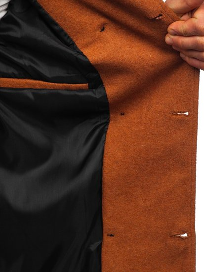 Brązowy płaszcz dwurzędowy z paskiem męski zimowy z wysokim kołnierzem Denley 0009