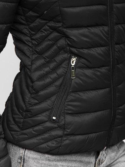 Czarna pikowana kurtka damska przejściowa z kapturem Denley B0102