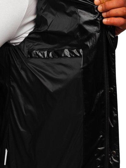 Czarna pikowana kurtka męska zimowa Denley 1165