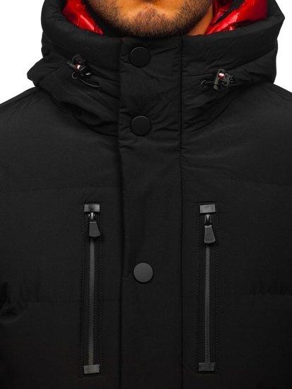 Czarna pikowana kurtka męska zimowa Denley J1903