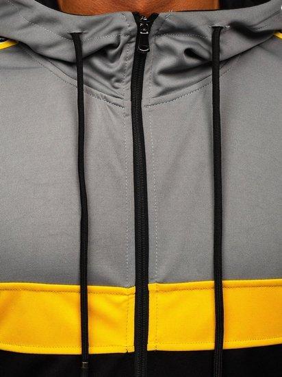 Czarna z kapturem bluza męska rozpinana Denley 81292