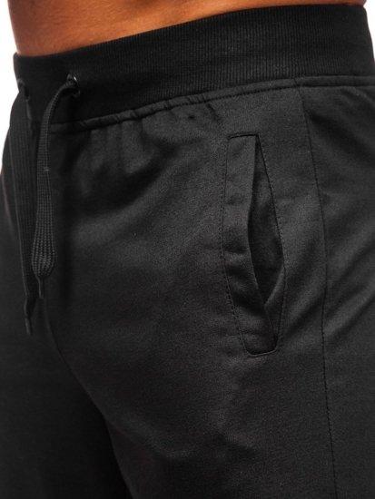Czarne dresowe krótkie spodenki męskie Denley DK11001