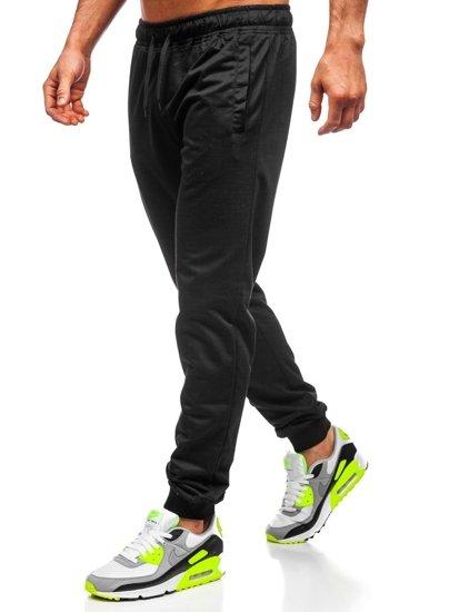 Czarne dresowe spodnie męskie Denley HH02
