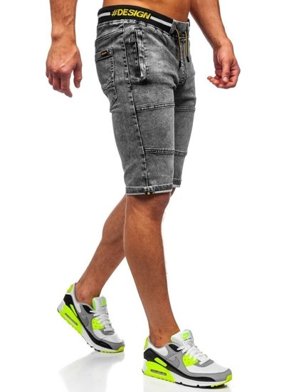 Czarne krótkie spodenki jeansowe męskie Denley HY768