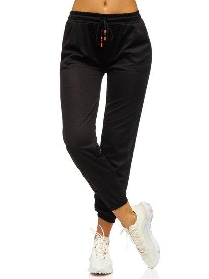 Czarne spodnie dresowe damskie Denley YW01020