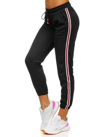 Czarne spodnie dresowe damskie Denley YW01020A