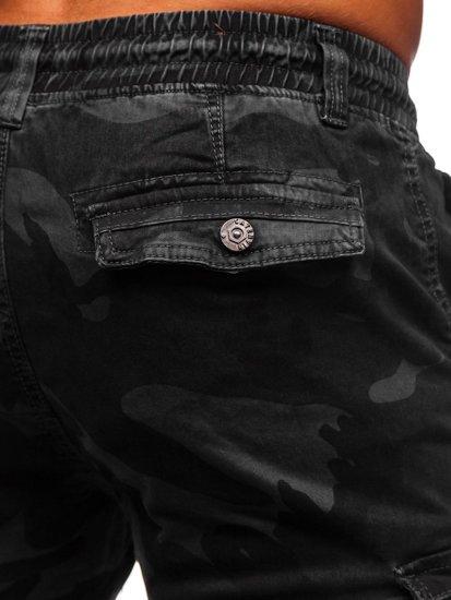 Czarne spodnie joggery bojówki męskie moro Denley CT6019