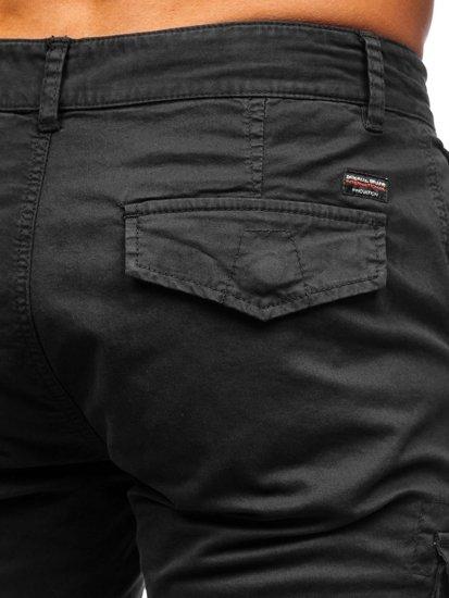 Czarne szorty krótkie spodenki męskie bojówki Denley 6134