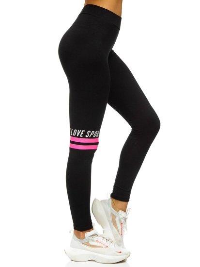 Czarno-różowe legginsy damskie z nadrukiem Denley 82350