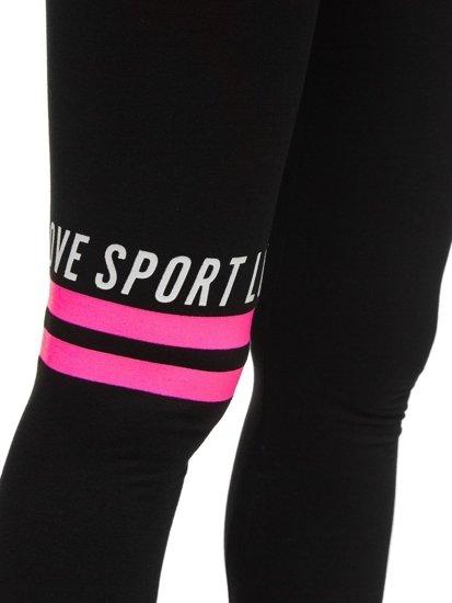 Czarno-różowe legginsy damskie z nadrukiem Denley W82350