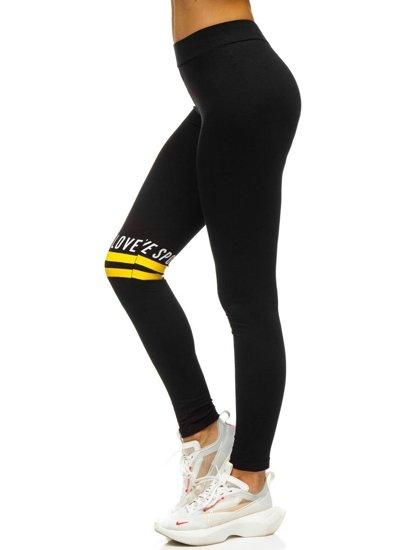 Czarno-żółte legginsy damskie z nadrukiem Denley 82350