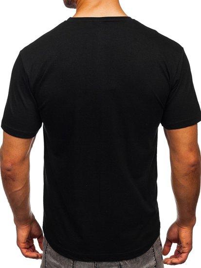 Czarny bawełniany t-shirt męski z nadrukiem Bolf 14801