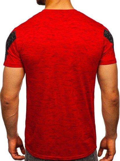 Czerwony T-shirt męski z nadrukiem Denley SS11122