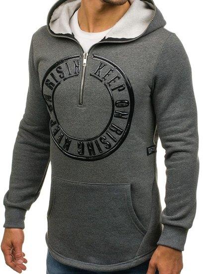 Długa bluza męska z kapturem z nadrukiem grafitowa Denley 171586