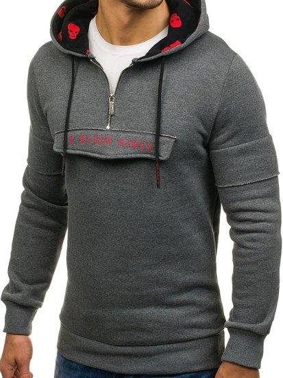 Długa bluza męska z kapturem z nadrukiem grafitowa Denley 171588