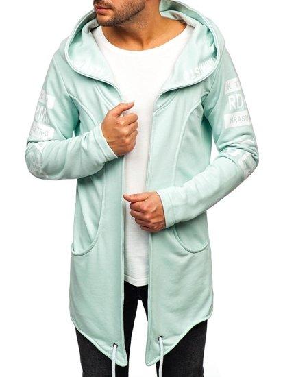 Długa bluza męska z kapturem z nadrukiem miętowa Denley 11110
