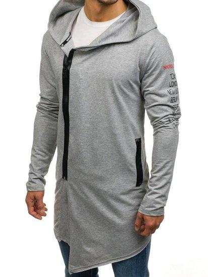 Długa bluza męska z kapturem z nadrukiem szara Denley 0913