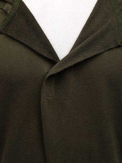 Długa bluza męska z kapturem zielona Denley NRT536