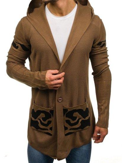 Długi sweter męski rozpinany z kapturem brązowy Denley 2123