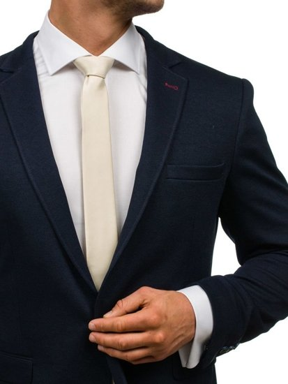 Elegancki krawat męski beżowy Denley K001