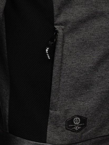 Grafitowo-biała z kapturem bluza męska rozpinana Denley TC1015