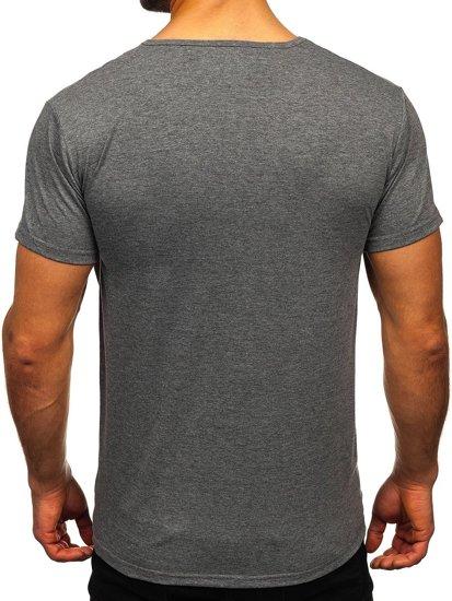 Grafitowy T-shirt męski z nadrukiem Denley KS2368