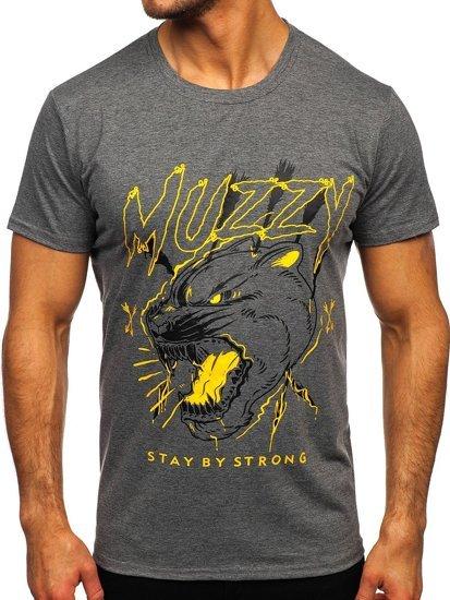 Grafitowy T-shirt męski z nadrukiem Denley KS2528