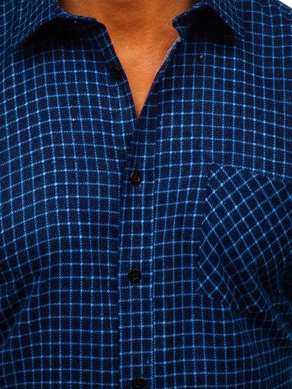 Granatowa koszula męska flanelowa z długim rękawem Denley F8