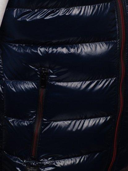 Granatowa pikowana kamizelka męska z kapturem Denley 6506