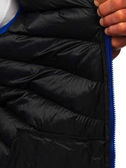 Granatowa pikowana kamizelka męska z kapturem Denley HDL88004