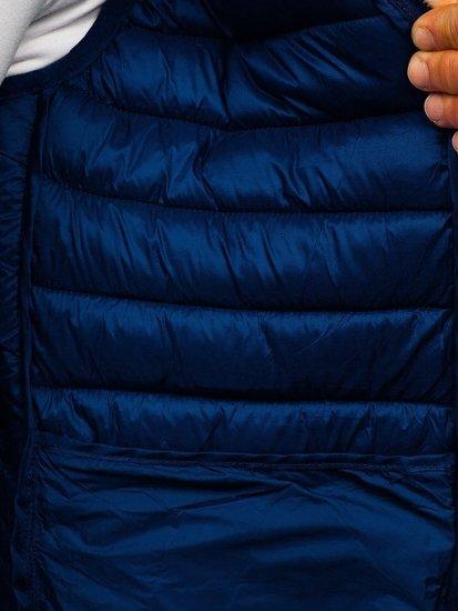 Granatowa pikowana kamizelka męska z kapturem Denley LY36