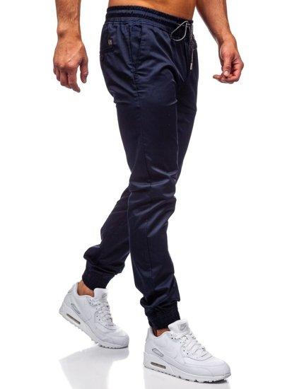 Granatowe spodnie joggery męskie Denley KA952