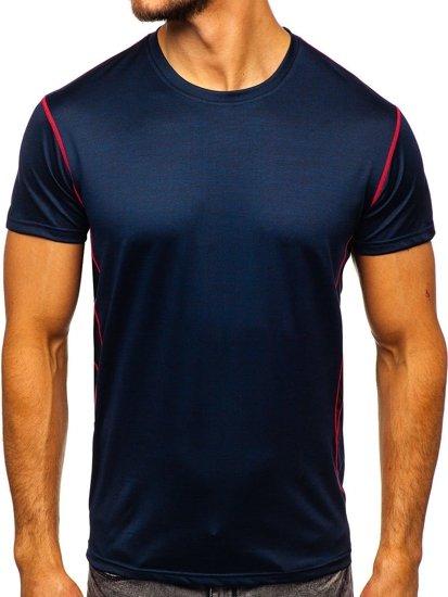Granatowy T-shirt treningowy męski bez nadruku Denley KS2104