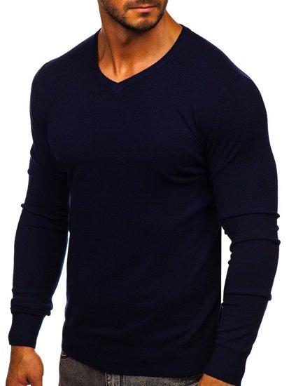 Granatowy sweter męski w serek Denley YY03