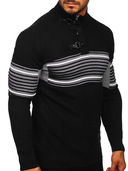 Gruby czarny sweter męski ze stójką Denley 1029