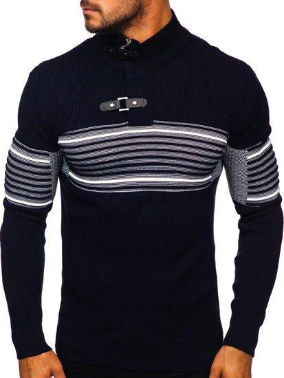 Gruby granatowy sweter męski ze stójką Denley 1029