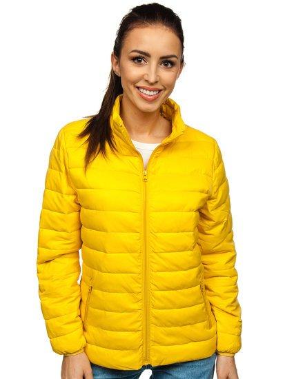 Jasnożółta pikowana kurtka damska przejściowa Denley 20311