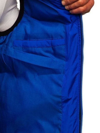 Kamizelka męska z kapturem niebieska Denley 5803
