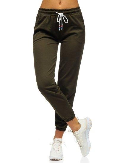 Khaki spodnie dresowe damskie Denley YW01020