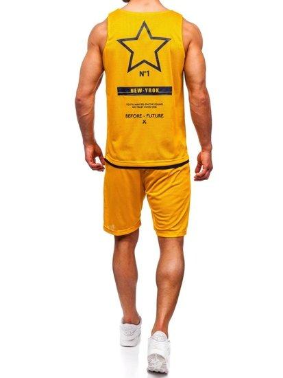 Komplet męski t-shirt + spodenki Denley żółty 100777