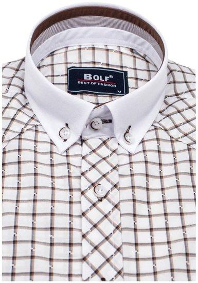 Koszula męska elegancka w kratę z długim rękawem brązowa Bolf 6959