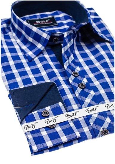 Koszula męska elegancka w kratę z długim rękawem chabrowa Bolf 4747