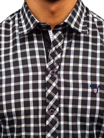 Koszula męska elegancka w kratę z długim rękawem czarna Bolf 4747-1