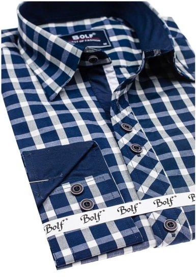 Koszula męska elegancka w kratę z długim rękawem granatowa Bolf 4747